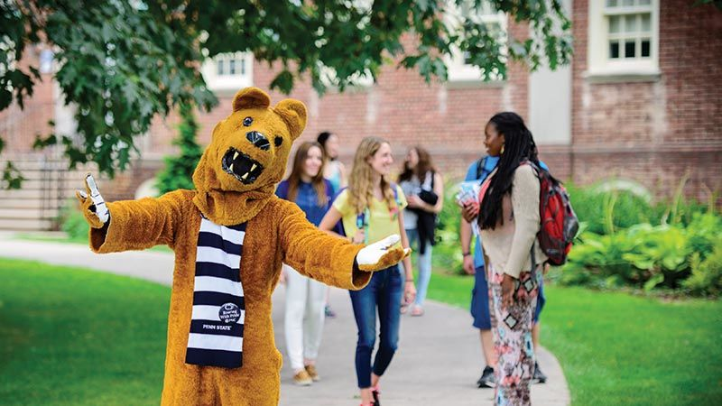 Nittany Lion Mascot with group of students