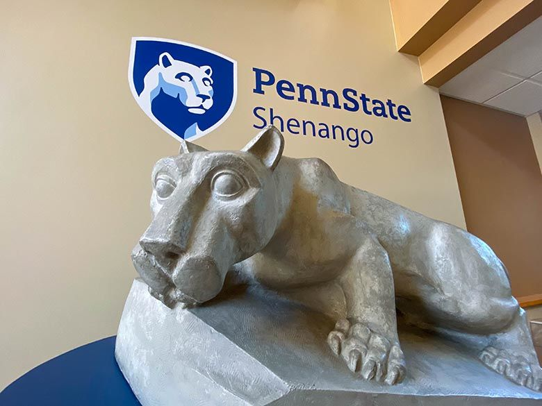 Lion Shrine under Penn State Shenango mark