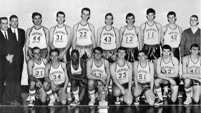 Coaches and members of the 1967 SVC men's basketball team