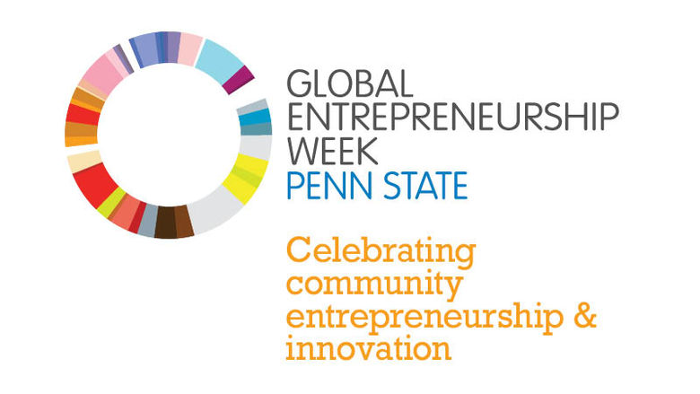 Circle with the words next to it Global Entrepreneurship Week Penn State