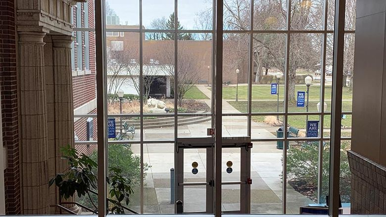 View of the Lion Shrine and Forker Building from the second floor of the atrium's windows.