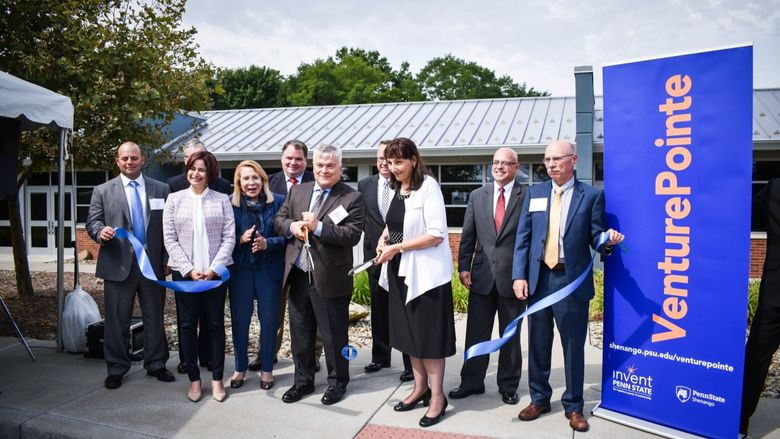 Ribbon cutting at Penn State Shenango's VenturePointe incubator