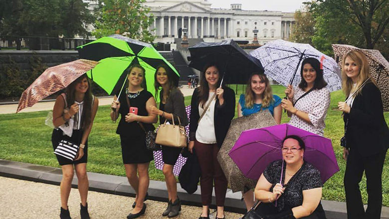 Students from the Shenango campus' OTA program stop for a picture in front of the Capitol building in D.C. on HIll Day in Sept.